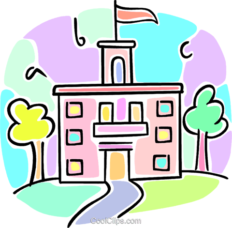 school building Royalty Free Vector Clip Art illustration vc064559