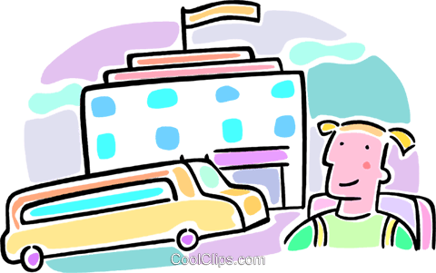 school, school bus and student Royalty Free Vector Clip Art illustration vc064564