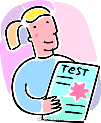student with a test Royalty Free Vector Clip Art illustration vc064565