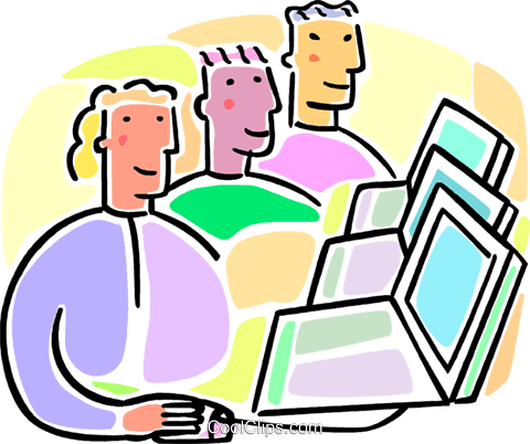 students working at computers Royalty Free Vector Clip Art illustration vc064573