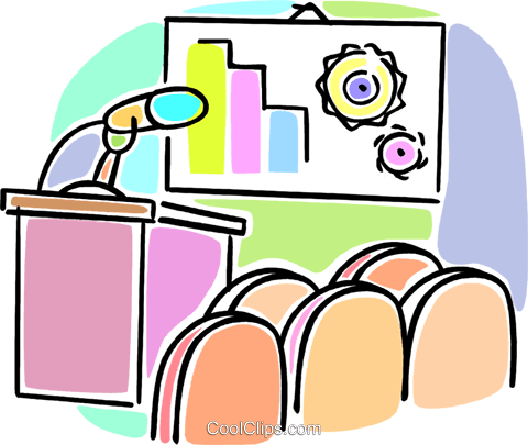 microphone at a podium Royalty Free Vector Clip Art illustration vc064578