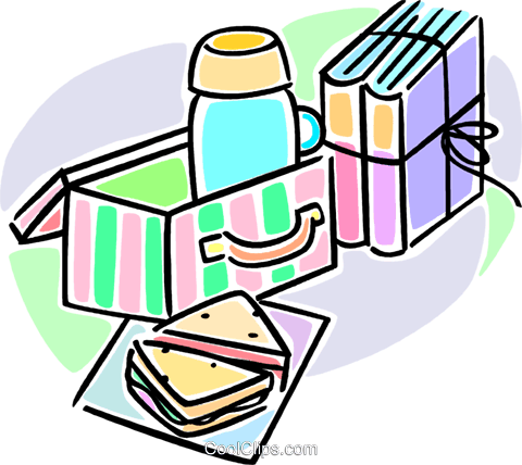 lunch and school books Royalty Free Vector Clip Art illustration vc064580