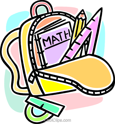 knapsack and math books Royalty Free Vector Clip Art illustration vc064581