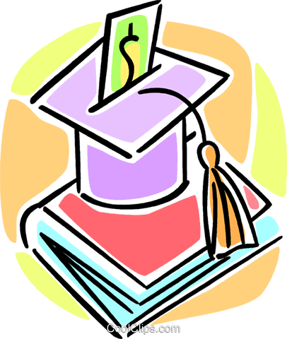 graduation cap and school book Royalty Free Vector Clip Art illustration vc064585