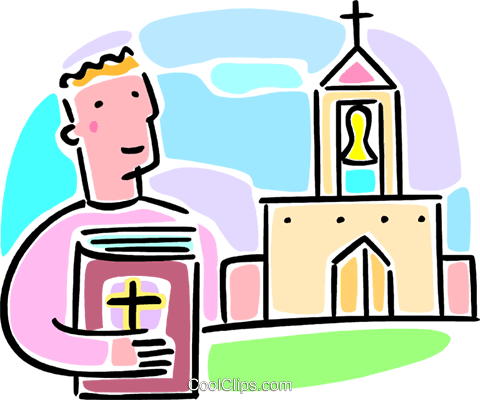 man holding a Bible looking at a church Royalty Free Vector Clip Art illustration vc064586