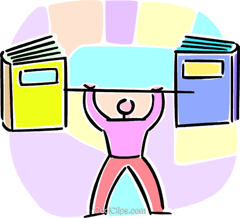 person lifting school books Royalty Free Vector Clip Art illustration vc064587