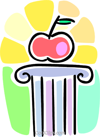 apple on a pedestal Royalty Free Vector Clip Art illustration vc064607