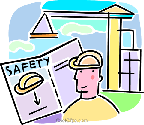 worker looking at a safety manual Royalty Free Vector Clip Art illustration vc064622