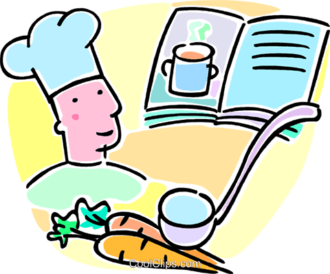 chef and a cookbook Royalty Free Vector Clip Art illustration vc064635