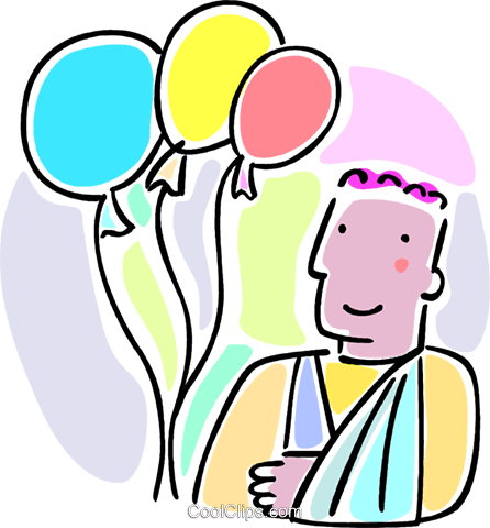 boy with his arms in a sling and balloons Royalty Free Vector Clip Art illustration vc064646