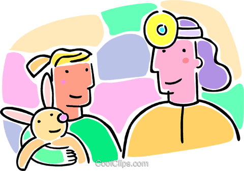 doctor looking at a patient Royalty Free Vector Clip Art illustration vc064654