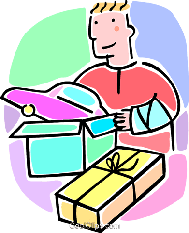 boy in a cast opening a present Royalty Free Vector Clip Art illustration vc064655