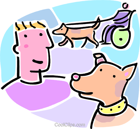 person in wheelchair walking a dog Royalty Free Vector Clip Art illustration vc064679