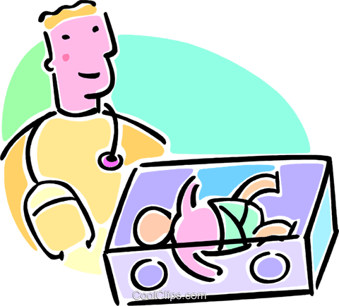 doctor and a newborn baby Royalty Free Vector Clip Art illustration vc064685