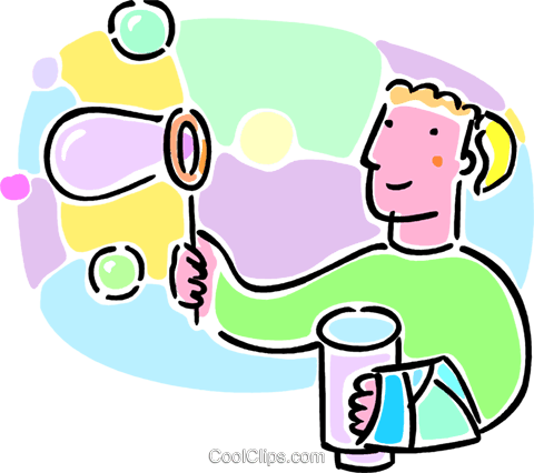 child blowing bubbles Royalty Free Vector Clip Art illustration vc064689