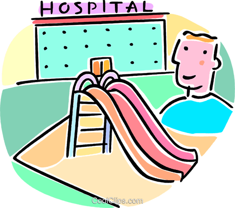 slide outside of the hospital Royalty Free Vector Clip Art illustration vc064690