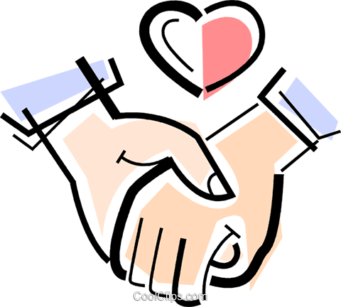 couple holding hands Royalty Free Vector Clip Art illustration vc064708