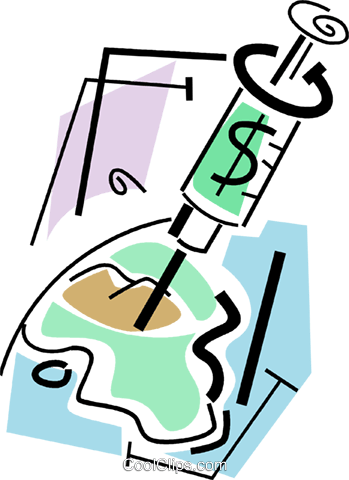 injection of cash Royalty Free Vector Clip Art illustration vc064715