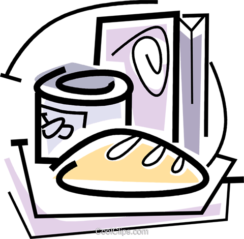 bread canned goods and cereal Royalty Free Vector Clip Art illustration vc064727