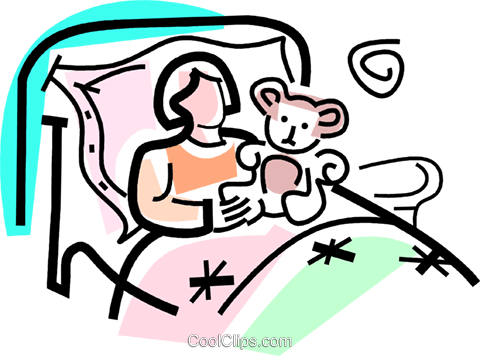 sick girl in bed with a stuffed animal Royalty Free Vector Clip Art illustration vc064734