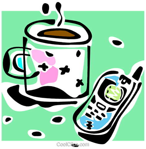 cell phone and a cup of coffee Royalty Free Vector Clip Art illustration vc064807