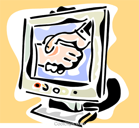 shaking hands on a computer monitor Royalty Free Vector Clip Art illustration vc064810