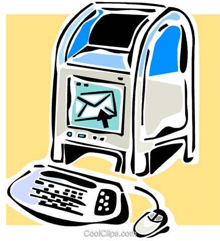 mailbox and computer keyboard Royalty Free Vector Clip Art illustration vc064834
