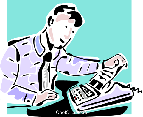businessman looking at a fax machine Royalty Free Vector Clip Art illustration vc064839