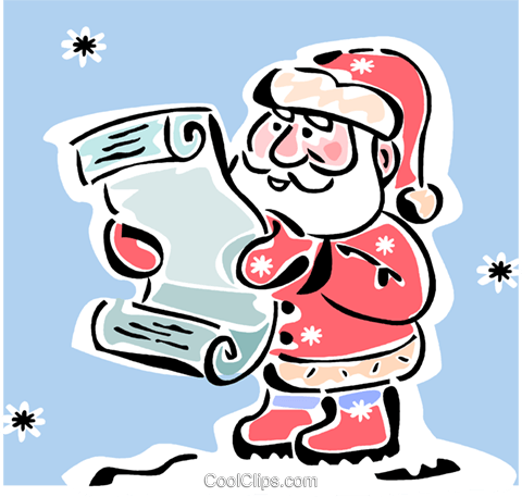 Santa with his list Royalty Free Vector Clip Art illustration vc064863