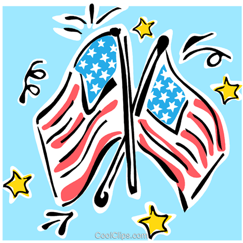 American flags Royalty Free Vector Clip Art illustration vc064866