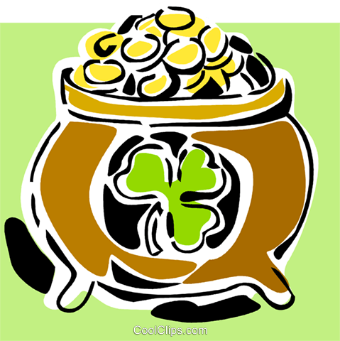 pot of gold Royalty Free Vector Clip Art illustration vc064880