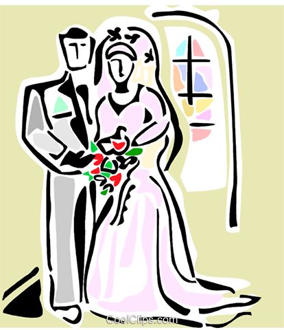 Wedding bride and groom Royalty Free Vector Clip Art illustration vc064882
