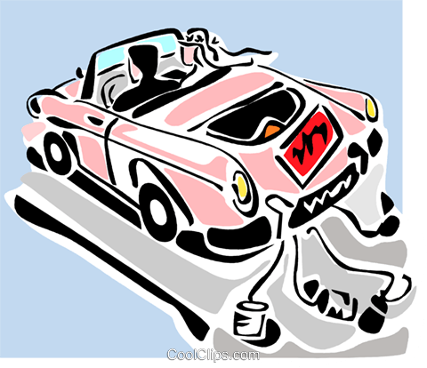 just married automobile Royalty Free Vector Clip Art illustration vc064891