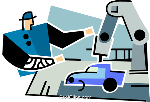 automotive assembly line Royalty Free Vector Clip Art illustration vc064899