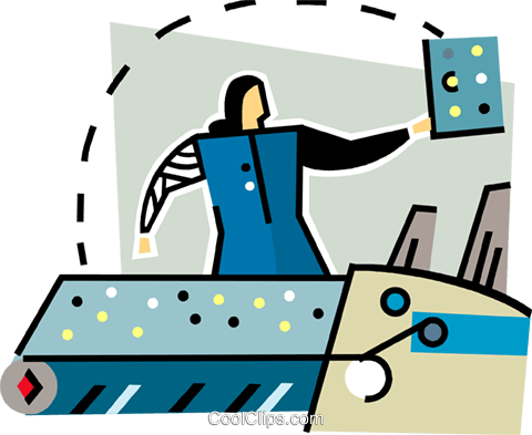 woman working in a factory Royalty Free Vector Clip Art illustration vc064908