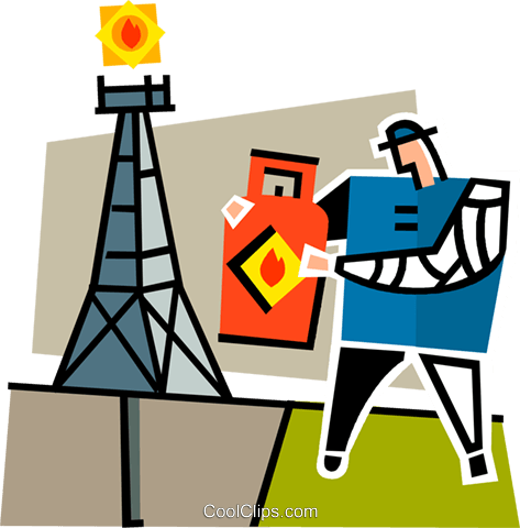 man with a gas can by a oil rig Royalty Free Vector Clip Art illustration vc064913