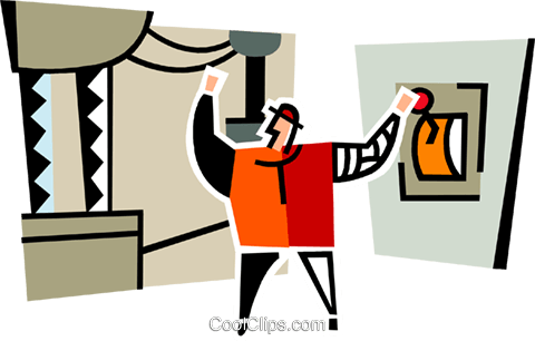 man throwing the switch Royalty Free Vector Clip Art illustration vc064914