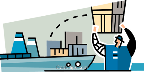 man with a crate loading a cargo ship Royalty Free Vector Clip Art illustration vc064923