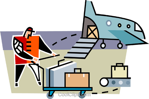 baggage handler at the airport Royalty Free Vector Clip Art illustration vc064934