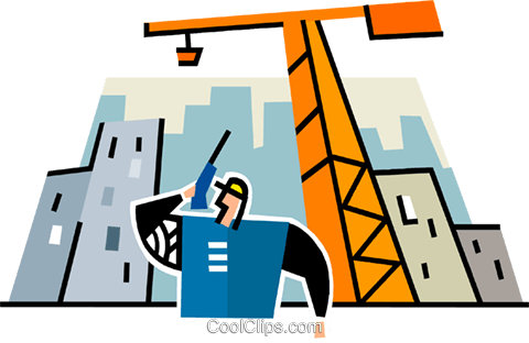 construction foreman on a walkie talkie Royalty Free Vector Clip Art illustration vc064935