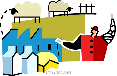 farmer with sheep Royalty Free Vector Clip Art illustration vc064944