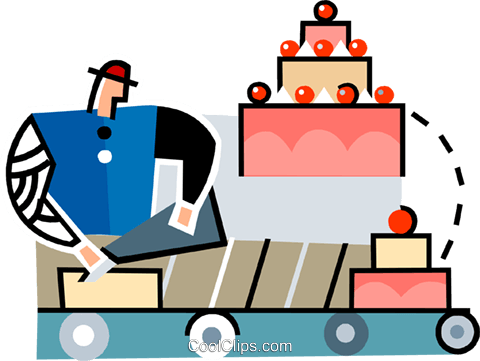 baker decorating a cake Royalty Free Vector Clip Art illustration vc064946