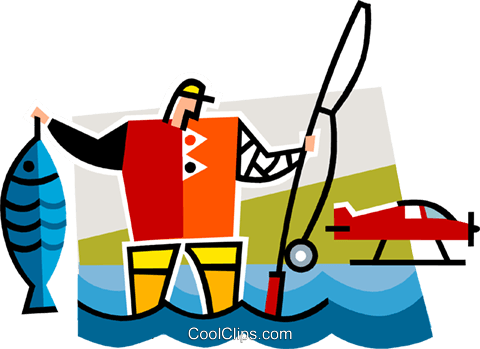 fisherman Royalty Free Vector Clip Art illustration vc064950