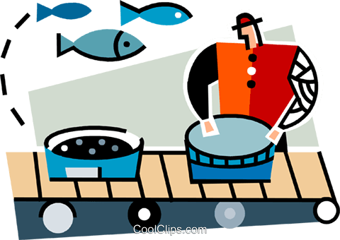 Man working at a commercial fishery Royalty Free Vector Clip Art illustration vc064951