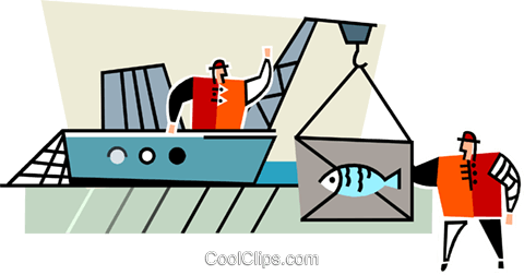 commercial fishing Royalty Free Vector Clip Art illustration vc064954