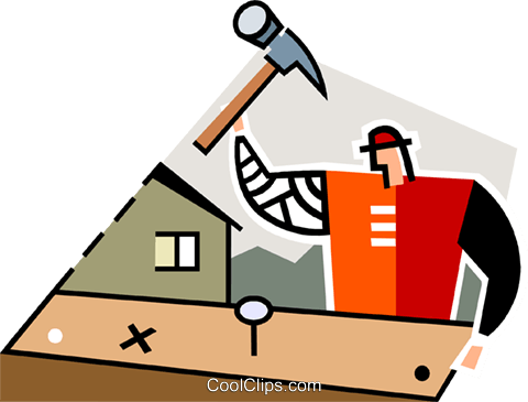 carpenter hammering nails Royalty Free Vector Clip Art illustration vc064958