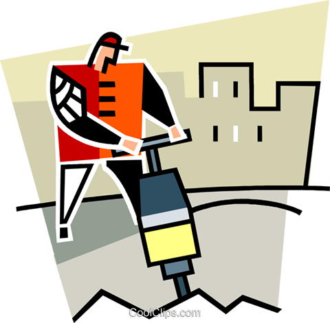 construction worker using a jackhammer Royalty Free Vector Clip Art illustration vc064962