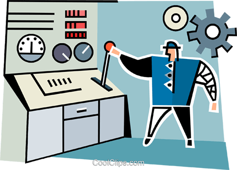 man standing at a work station Royalty Free Vector Clip Art illustration vc064964