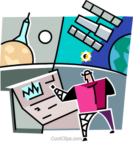 man monitoring a satellite and rocket Royalty Free Vector Clip Art illustration vc064965