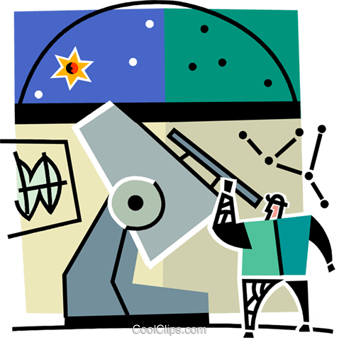 man at an observatory Royalty Free Vector Clip Art illustration vc064968